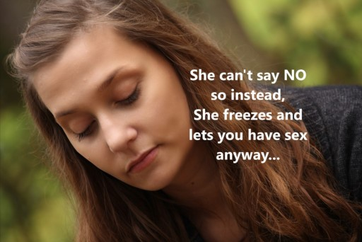 She can't say NO so instead, she freezes